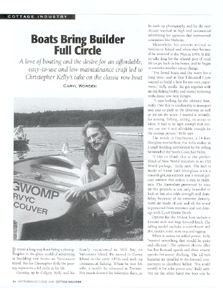 article, Boats Bring Builder Full Circle, as seen in Cottage Magazine